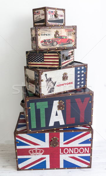Old style voyage suitcase with travel stickers Stock photo © zurijeta