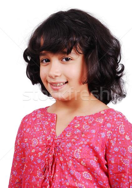 A beautiful school girl with isolated background Stock photo © zurijeta