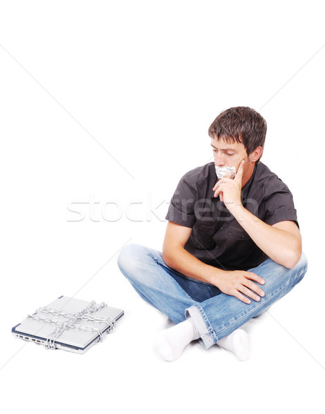 Man with isolated mouth and chained laptop Stock photo © zurijeta