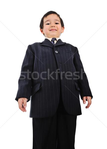 Jólöltözött gyerek üzlet gyermek űr portré Stock fotó © zurijeta