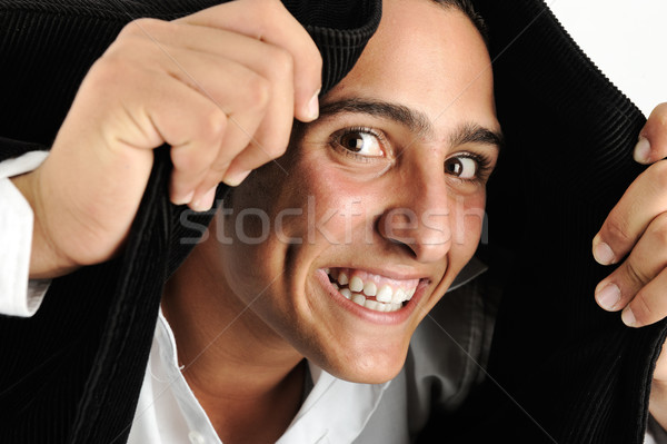 Portré fiatalember készít fejkendő kabát mosoly Stock fotó © zurijeta
