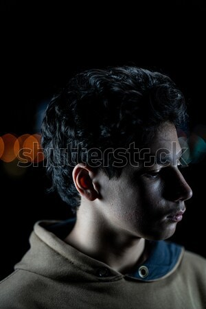 Profiel witte kaal man twintiger donkere Stockfoto © zurijeta