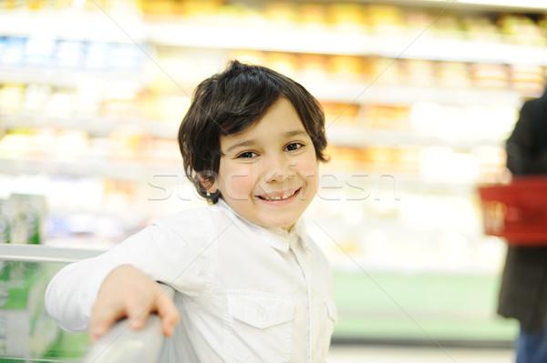 Erkek alışveriş yüz eğlence çocuk pazar Stok fotoğraf © zurijeta