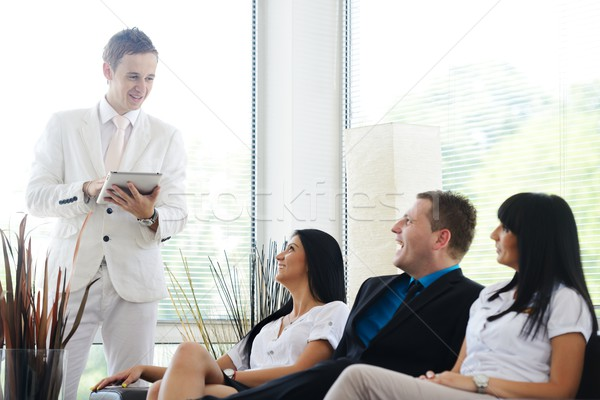 Small group of people seal a deal with their personal financial  Stock photo © zurijeta