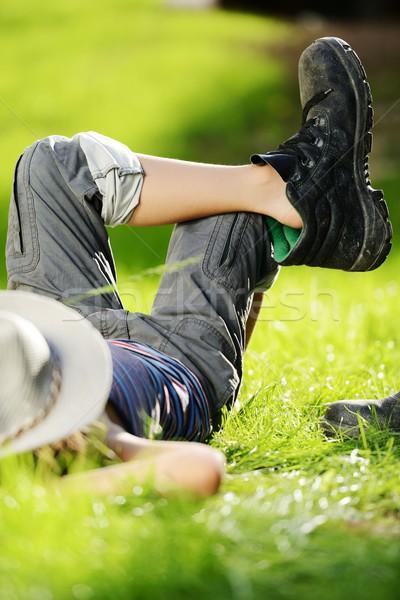Dziecko lata parku trawy Zdjęcia stock © zurijeta