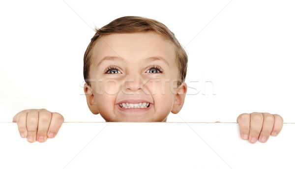 Mooie bruin haar kind glimlach witte Stockfoto © zurijeta