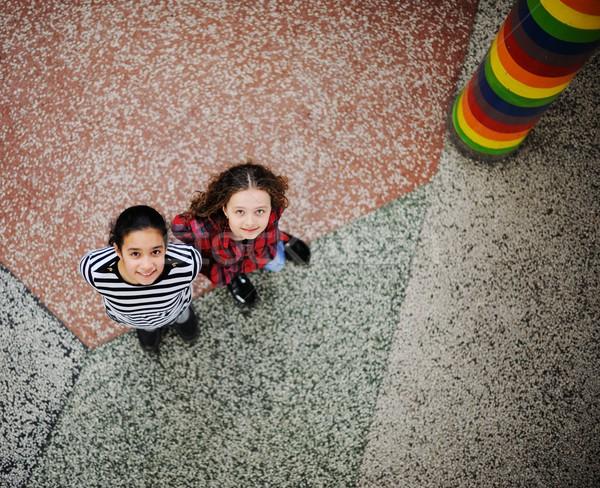 Aranyos iskolások osztályterem oktatás tevékenységek kezek Stock fotó © zurijeta