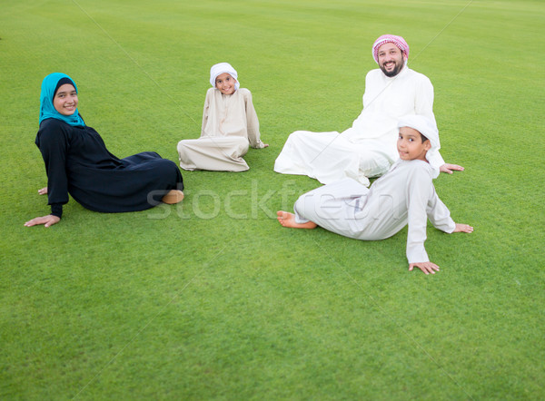 Happy Muslim Arabic family on summer vacation Stock photo © zurijeta