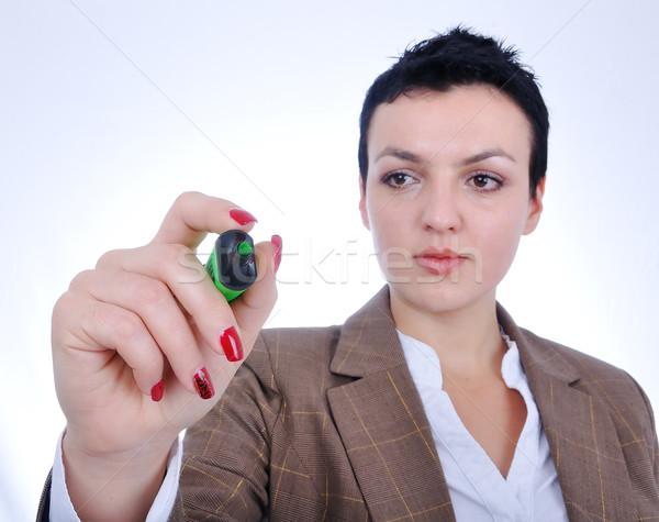 Business woman designing a plan on screen Stock photo © zurijeta
