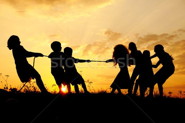 Stockfoto: Silhouet · groep · gelukkig · kinderen · spelen · weide