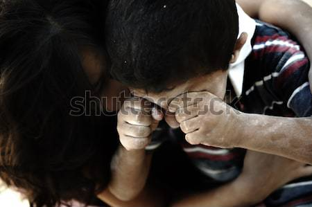 Stok fotoğraf: Küçük · kirli · kardeş · kardeş · yoksulluk · kötü