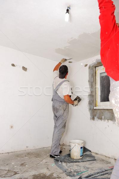 Construction workers painting walls Stock photo © zurijeta