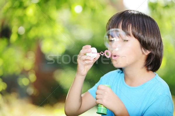 Portre sevimli küçük erkek sabun köpüğü Stok fotoğraf © zurijeta
