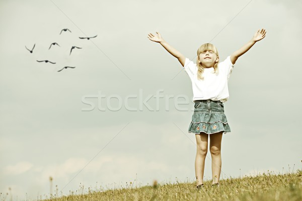 Filtered image of little kid on summer grass meadow in nature Stock photo © zurijeta