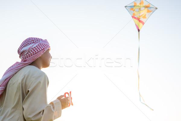 счастливым арабский Kid кайт моде природы Сток-фото © zurijeta
