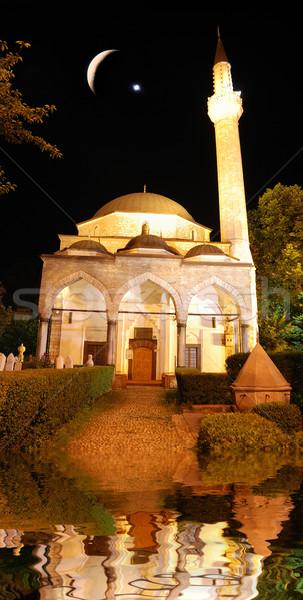 Moschee noapte semiluna stea apă oraş Imagine de stoc © zurijeta