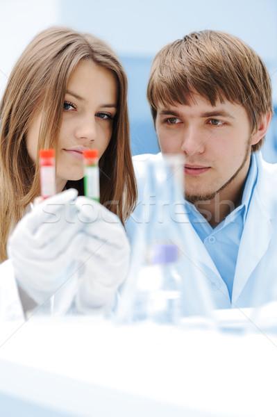 Feminino masculino cientistas trabalhando lab corpo Foto stock © zurijeta