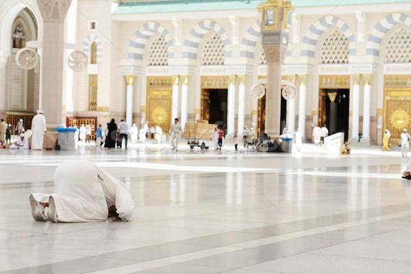 Muslim praying at Medina mosque Stock photo © zurijeta