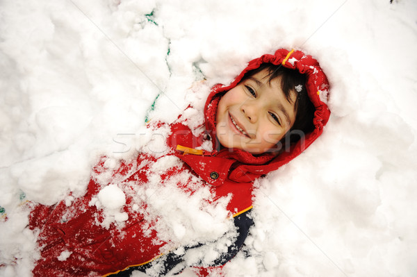 Cute kid in snow, snowtime, winter, happiness Stock photo © zurijeta