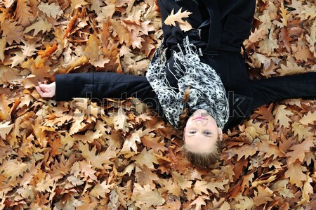 Young girl in beautiful autumn park Stock photo © zurijeta