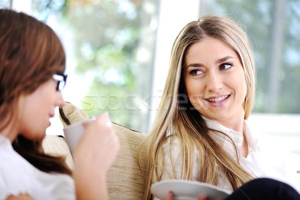 Dos hermosa mujeres conversación potable café Foto stock © zurijeta