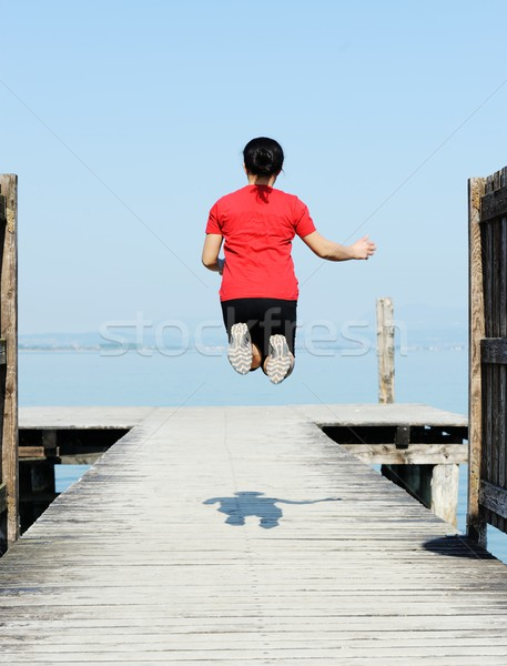 Wooden dock on a beautiful lake Stock photo © zurijeta