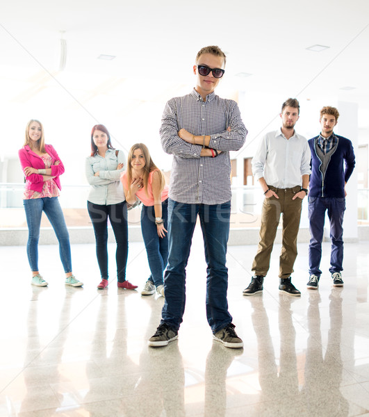 Cheerful students standing in hallway high school Stock photo © zurijeta