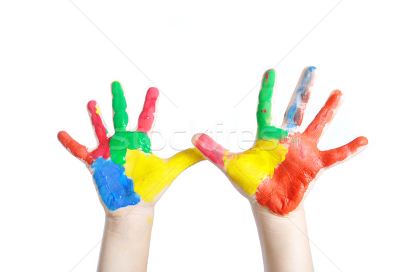 Child hands painted in colorful paints ready for hand prints  Stock photo © zurijeta