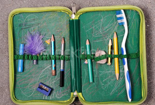 Pencil box with tooth brush for teeth :P Stock photo © zurijeta