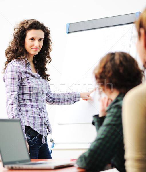 Vrouwelijke uitvoerende presentatie collega's moderne Stockfoto © zurijeta