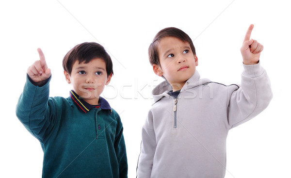 Kettő kicsi fiúk kisajtolás digitális gombok Stock fotó © zurijeta
