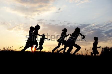 Сток-фото: силуэта · группа · счастливым · детей · играет · луговой