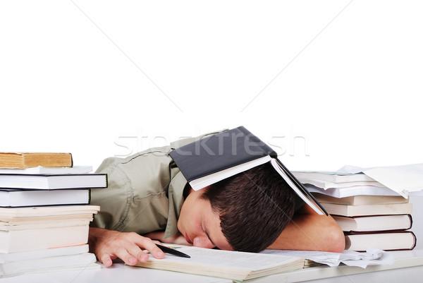 Young man fallen asleep after long reading Stock photo © zurijeta
