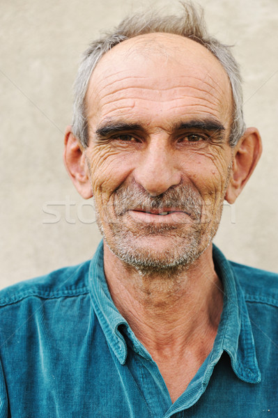 Elderly bald man, natural smile and positive grimace Stock photo © zurijeta