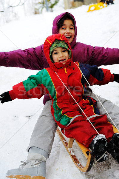 children have fun together sliding downhill on a pleasant winter day Stock photo © zurijeta