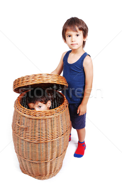 Playing in childhood in isolated background Stock photo © zurijeta