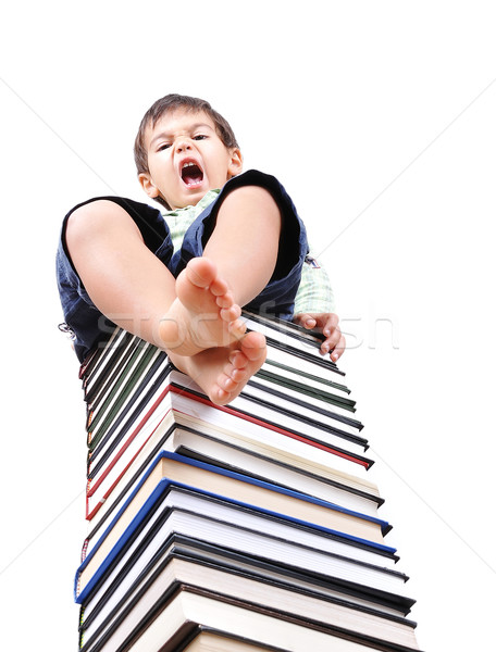 Book tower made of many books and person Stock photo © zurijeta