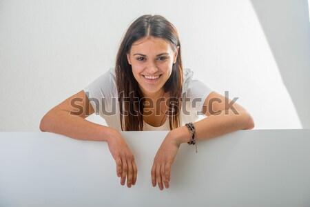 Beautiful girl bandeira belo sorridente menina isolado Foto stock © zurijeta
