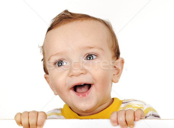 ittle boy look out and smiling Stock photo © zurijeta