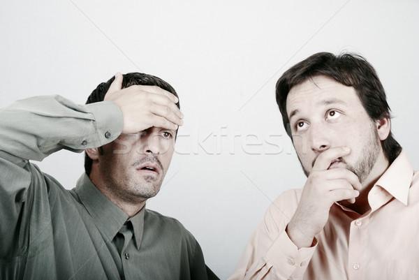 Kettő aggódó férfi gond üzlet pár Stock fotó © zurijeta