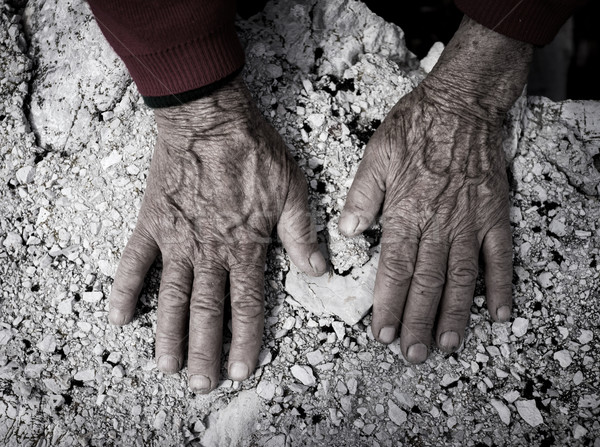 Aging process - very old senior woman hands wrinkled skin Stock photo © zurijeta