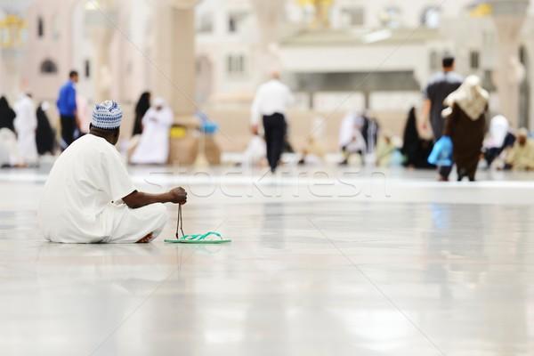 Arabic African man praying at Harem Stock photo © zurijeta