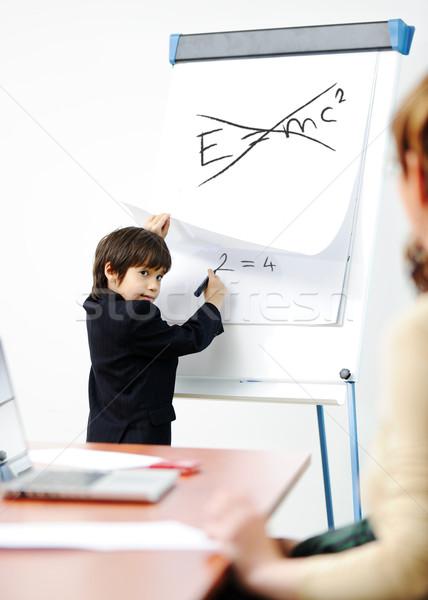 гений Kid бизнеса презентация взрослых Сток-фото © zurijeta