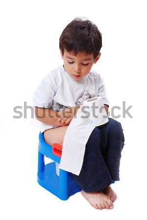 Cute kid toiletpapier toilet vergadering Stockfoto © zurijeta