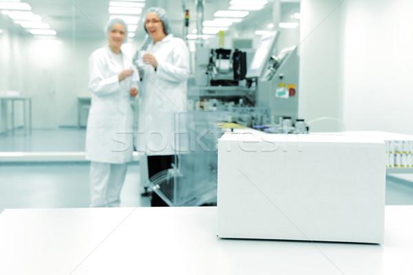 White box at automated production line at modern factory Stock photo © zurijeta