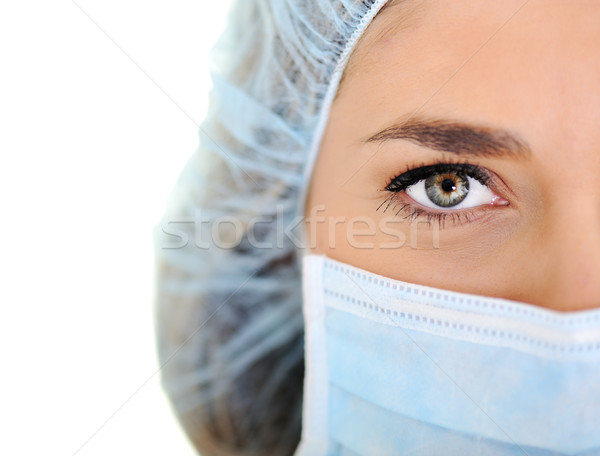 Female doctor wearing surgical cap and mask Stock photo © zurijeta
