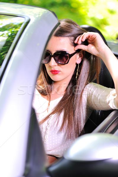 красивая женщина вождения Спортивный автомобиль небе девушки автомобилей Сток-фото © zurijeta