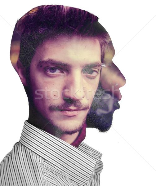 Dwóch mężczyzn jeden głowie podwoić ekspozycja twarz Zdjęcia stock © zurijeta