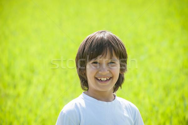 счастливым Kid красивой зеленый желтый травой поле Сток-фото © zurijeta