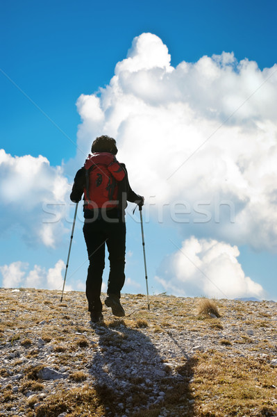 Rock climber ascending the mountain Stock photo © zurijeta
